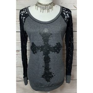 Maurices Grey Cross Sweater Lace Sleeves